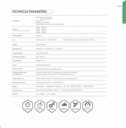 Thông số kỹ thuật Máy in chuyển nhiệt khổ lớn - TCI932